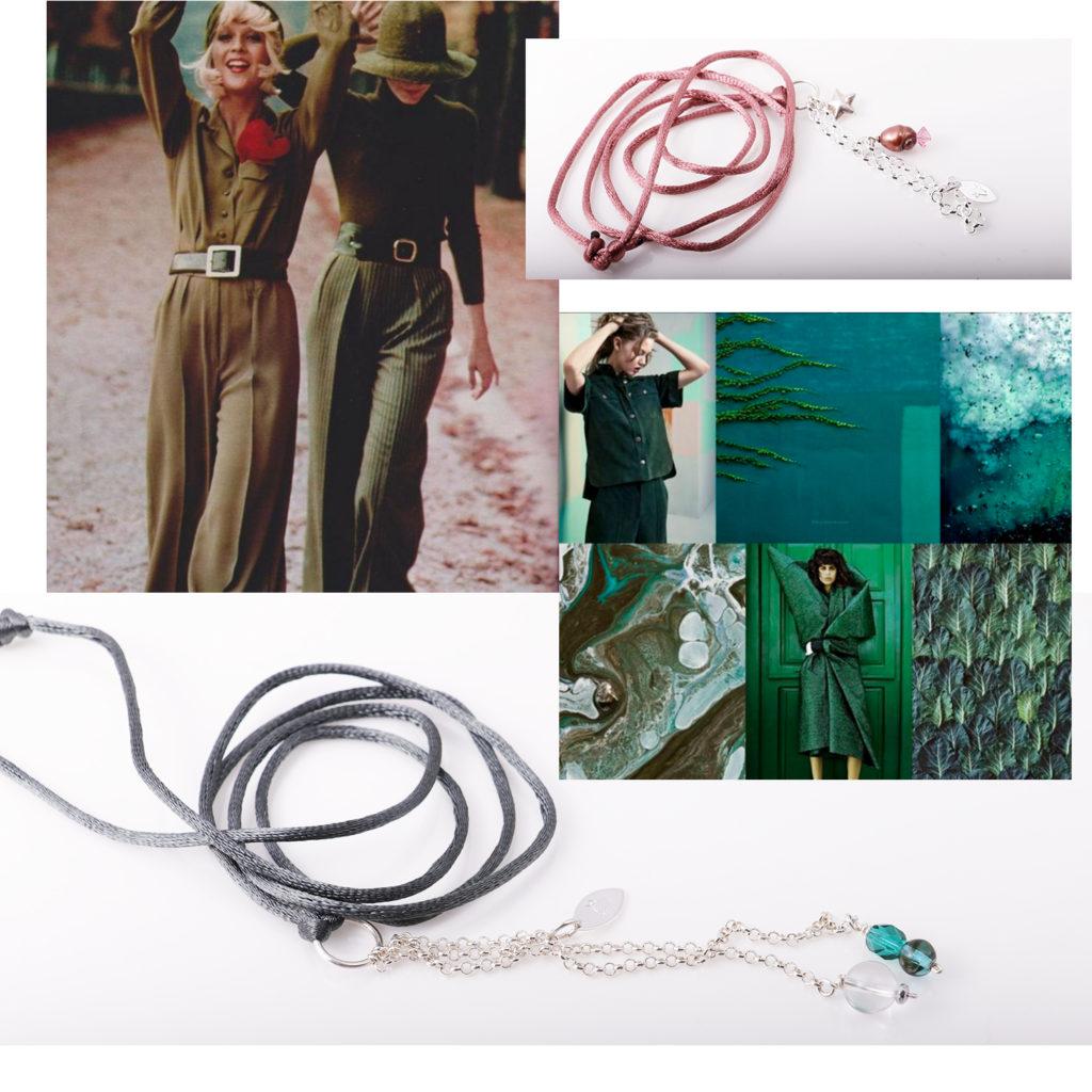 fargerike smykke halskjeder